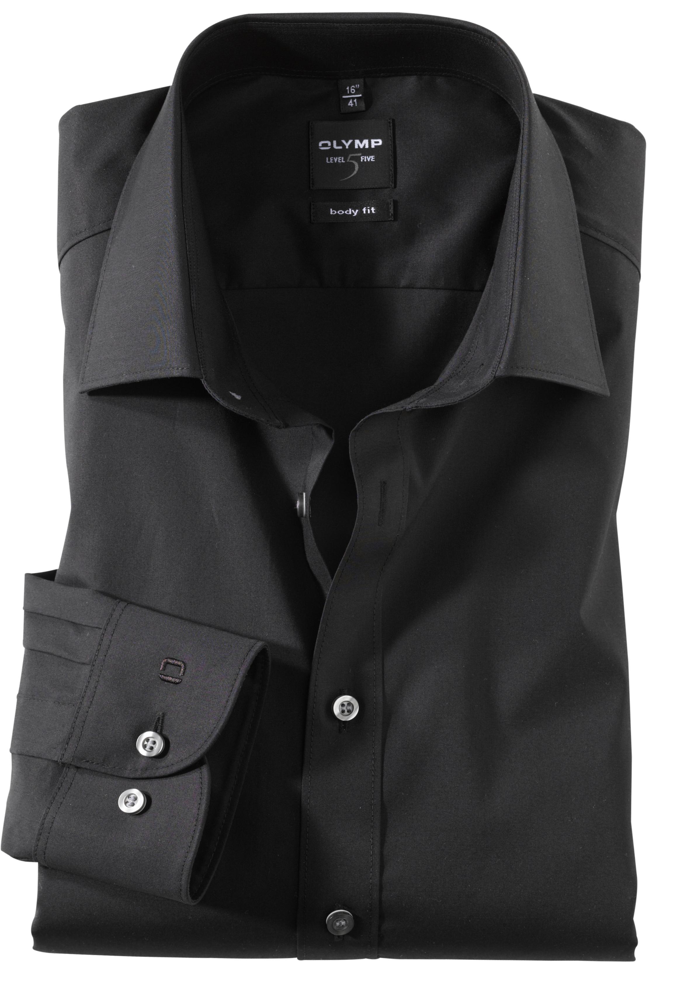 hemd so olymp level 5 bodyfit uni schwarz lang. Black Bedroom Furniture Sets. Home Design Ideas