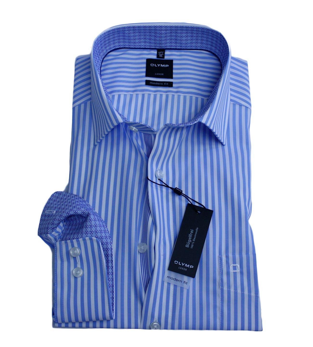 hot sale online 17f08 504de Olymp Luxor Hemd, gestreift, hellblau/weiß