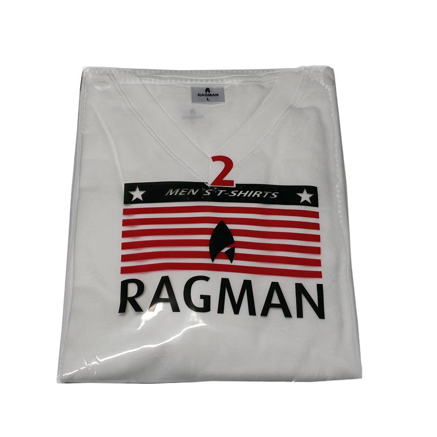 Ragman T-Shirts V-Ausschnitt, Doppelpack, Baumwolle, Normalschnitt, weiss 380067ee8a