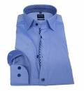 "Olymp ""Level 5"", bodyfit, blau meliert m. Under Button Down Kragen"